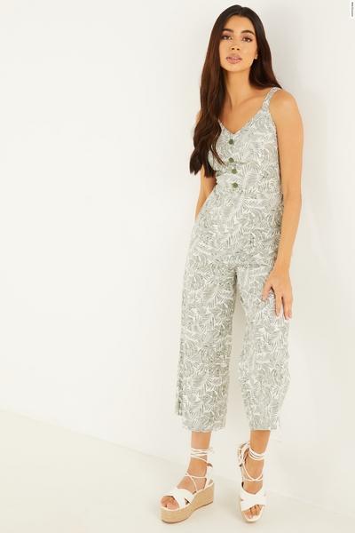 Khaki Tropical Culotte Jumpsuit